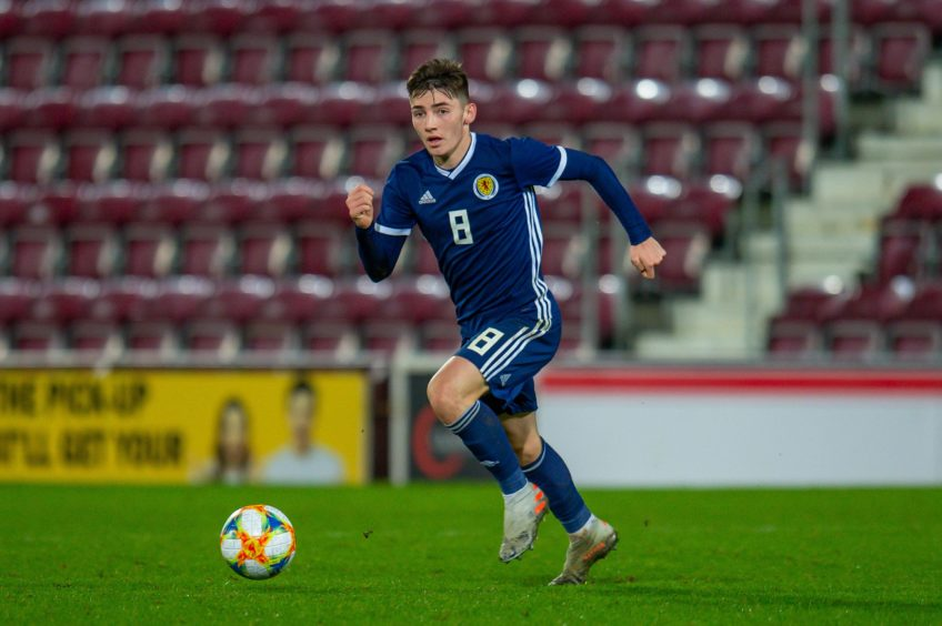 Billy Gilmour in action for Scotland U-21s
