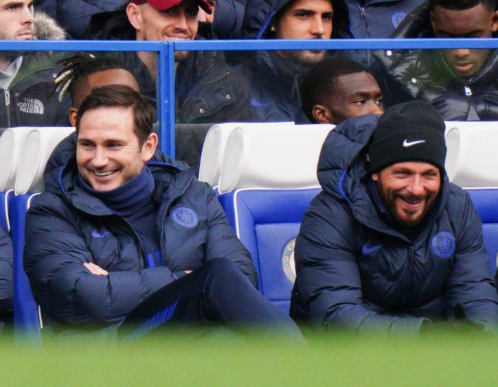 Jody Morris, right, alongside Chelsea boss Frank Lampard