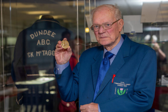 The legendary Dick McTaggart with his gold medal.