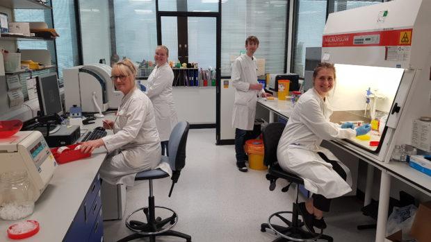 Virology lab team members at Ninewells.