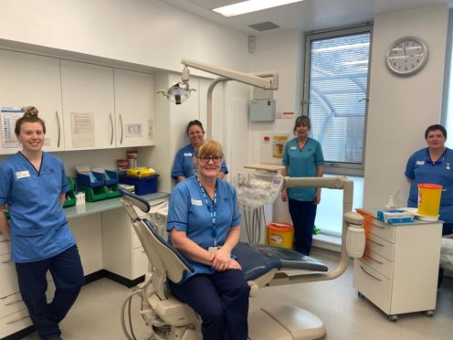 From left: Jessica Young, Mhari-Claire McRae, Hazel Todd, Hazel Duncan and Kirsty Macgregor at Broxden Dental Centre, Perth.