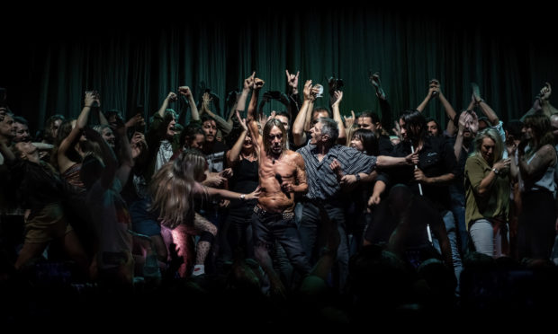 """NO REUSE When audience members were invited on stage to dance at an Iggy Pop concert in Sydney Opera House, Australia, on 17 April 2019, it showed the warm welcome Aussies extend to overseas artists who travel long distances to reach them.         A woman's outstretched arm lunges to touch Iggy. He seems unaware of her approach as the crowd presses around him. One of Iggy's assistants, Jos (in the grey checked shirt) tries to make some space around Iggy. The scene is reminiscent of a passage from the Bible: 'Because she thought, """"If I just touch his clothes, I will be healed.""""' (Mark 5:25-34, line 28). The image has been likened to religious paintings by Caravaggio, and his chiaroscuro technique. It went crazy on social media, making 40,000 people, including Iggy Pop, very happy."""