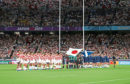 Japan and Scotland observe a minutes silence for the victims of Typhoon Hagibis during the 2019 Rugby World Cup match at the Yokohama Stadium, Yokohama. PA Photo. Picture date: Sunday October 13, 2019. See PA story RUGBYU Scotland. Photo credit should read: David Davies/PA Wire. RESTRICTIONS: Editorial use only. Strictly no commercial use or association. Still image use only. Use implies acceptance of RWC 2019 T&Cs (in particular Section 5 of RWC 2019 T&Cs) at URL: bit.ly/2knOId6