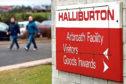 A sign at Halliburtons Arbroath site.
