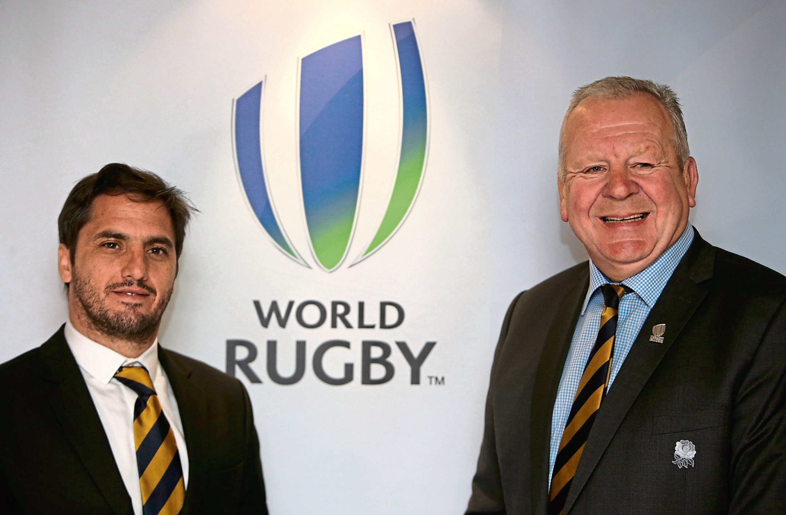 File photo dated 11-05-2016 of chairman of World Rugby, Bill Beaumont with vice-chairman Agustin Pichot (left). PA Photo. Issue date: Sunday April 12, 2020. Sir Bill Beaumont faces competition in his bid to be re-elected as World Rugby chairman after vice-chairman Agustin Pichot launched his campaign. See PA story RUGBYU World Rugby. Photo credit should read Brian Lawless/PA Wire.
