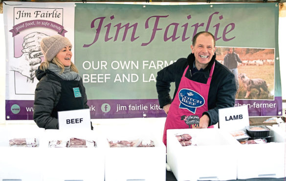 Jim Fairlie with his wife Anne McGhee at Perth Farmers' Market.