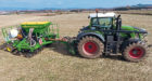 Spring barley being direct drilled in good conditions at Mains of Kinnettles, near Forfar,