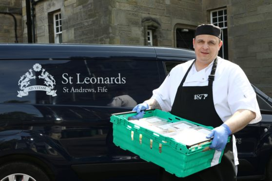 Chef Manager Darren Tonge with some of the meals at St Leonards.
