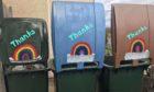 Wheelie bins decorated to thank refuse crews in Errol