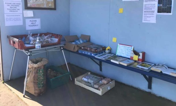 Arncroach bus shelter has been transformed into a supplies hub.
