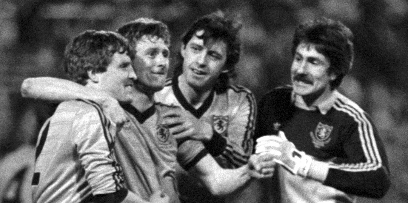 Hegarty and his Dundee United team-mates celebrate