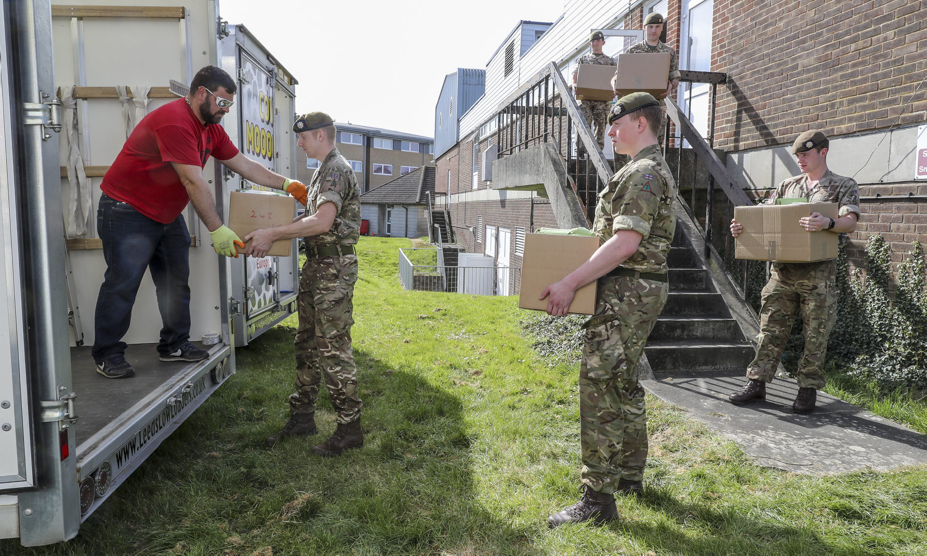 Scots guardsman assisting in helping move records at St Mary's Hospital to make space for the outbreak of covid-19.