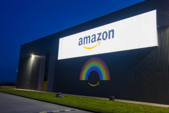 Online retailer Amazon is showing its thanks to the nations' key workers by lighting up its buildings around the country, including a giant rainbow projection at the Fulfilment Centre in Dunfermline, Scotland.