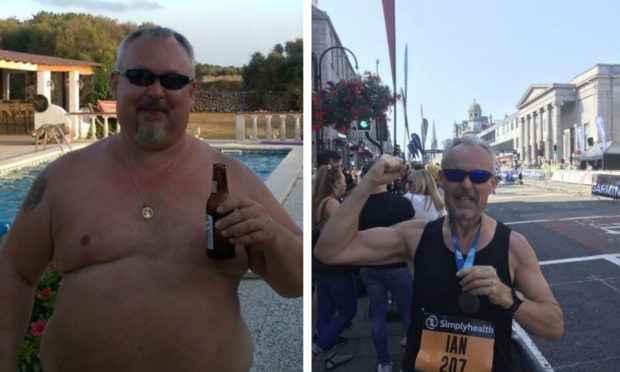 Ian Atkinson before and after the weight loss.