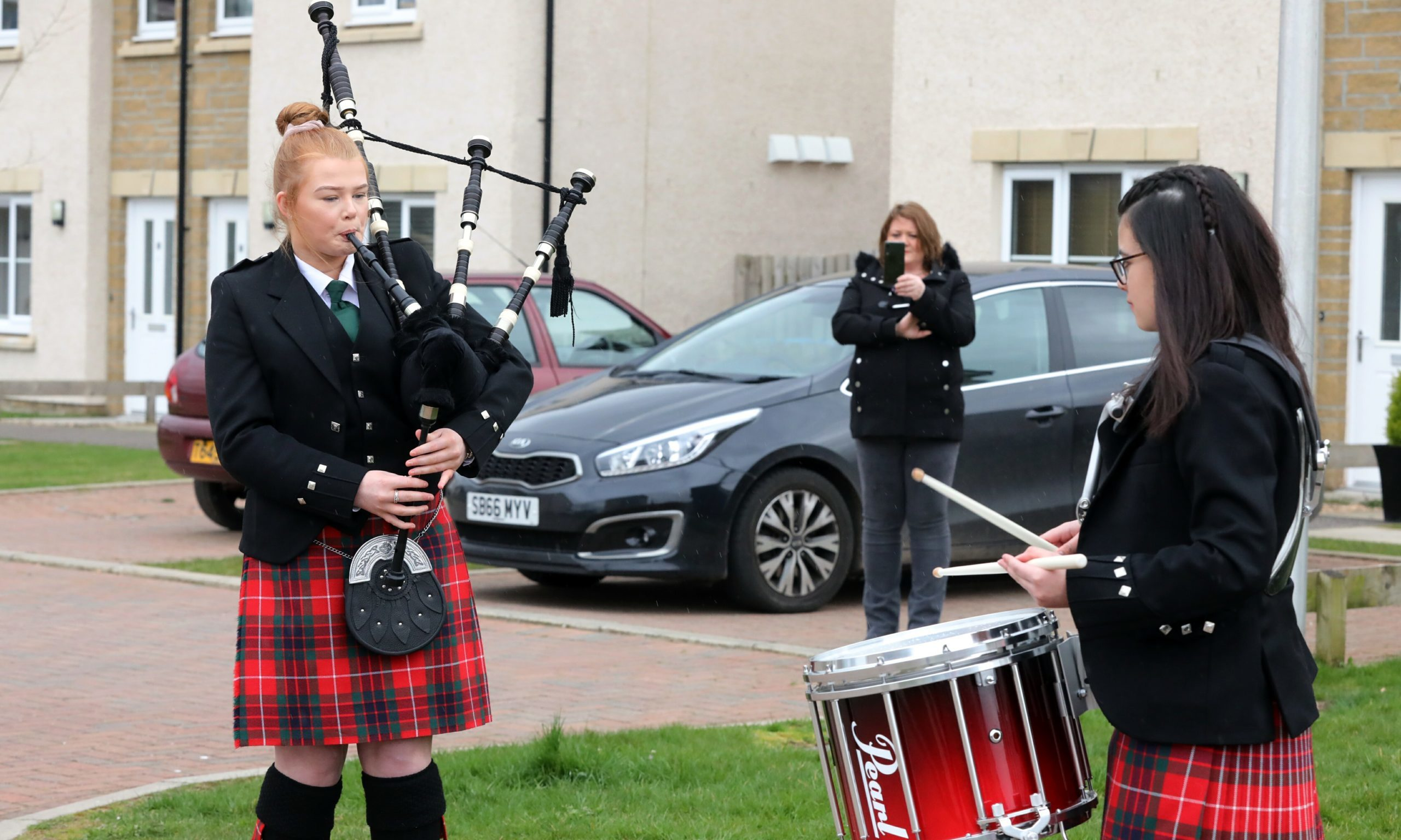 Piper Chloe Blakely (14) and Eva Seba (13) of the Community School of Auchterarder Pipe Band.