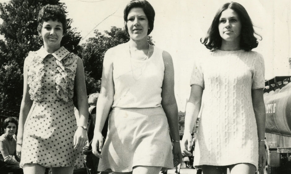 A group of women sporting mini dresses in Dundee in 1971.