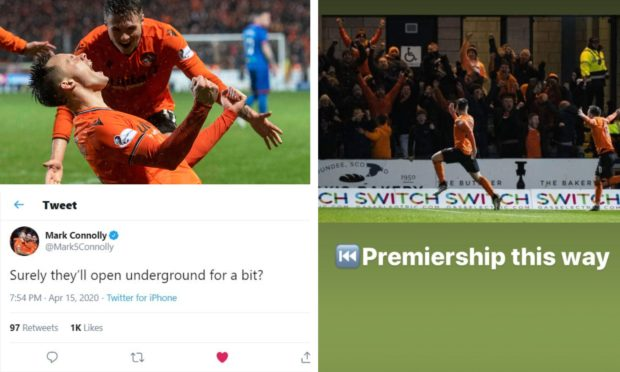 Dundee United players react to the club's promotion to the Premiership via social media.