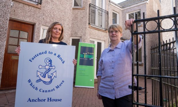 Wendy Givens and Sharon Thomas of Anchor House and The Lighthouse outside new crisis centre for mental health being set up in Perth at The Neuk.