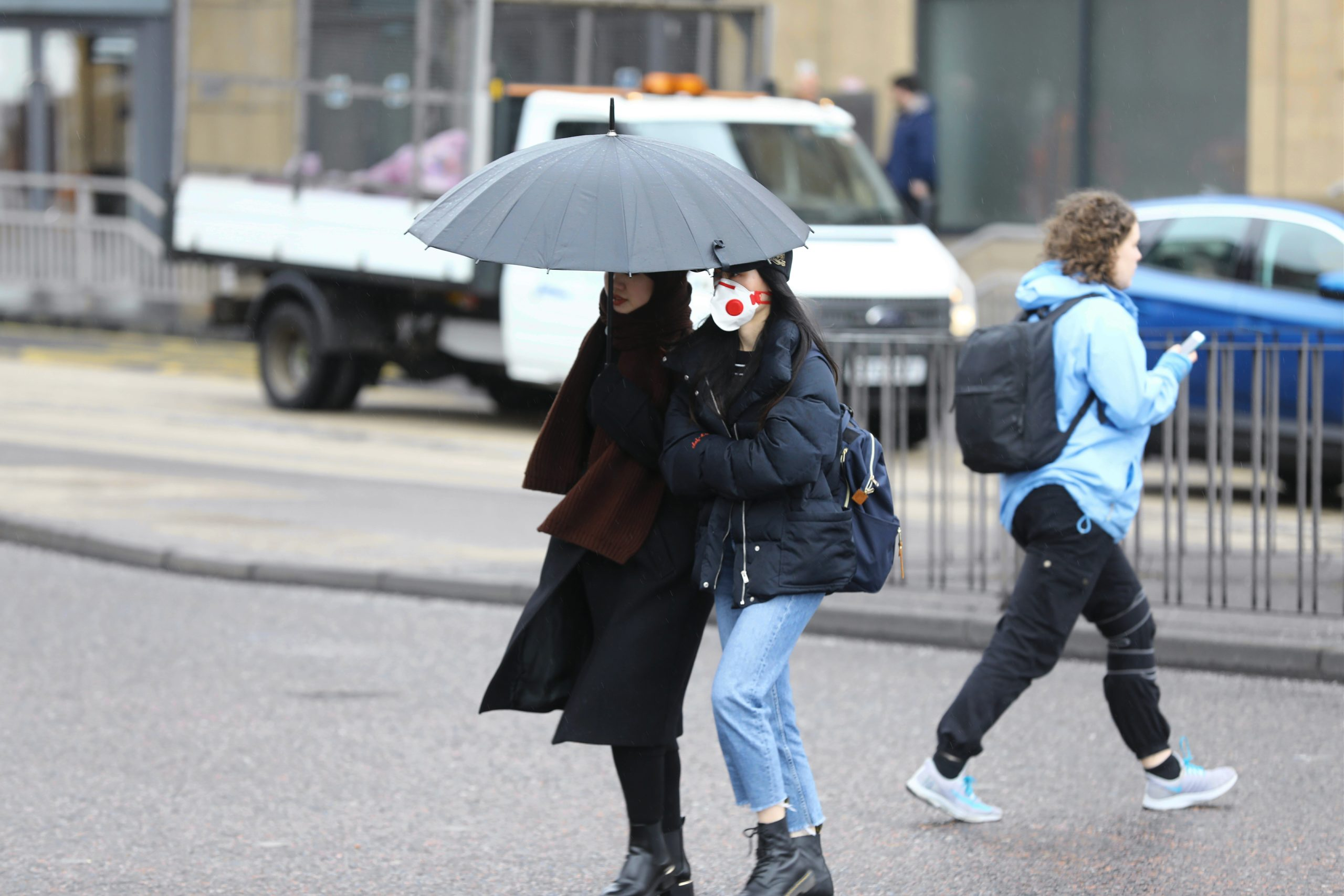 A woman wearing a face mask in Dundee