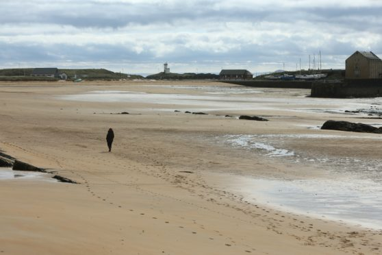 Elie beach was all but deserted on Saturday.