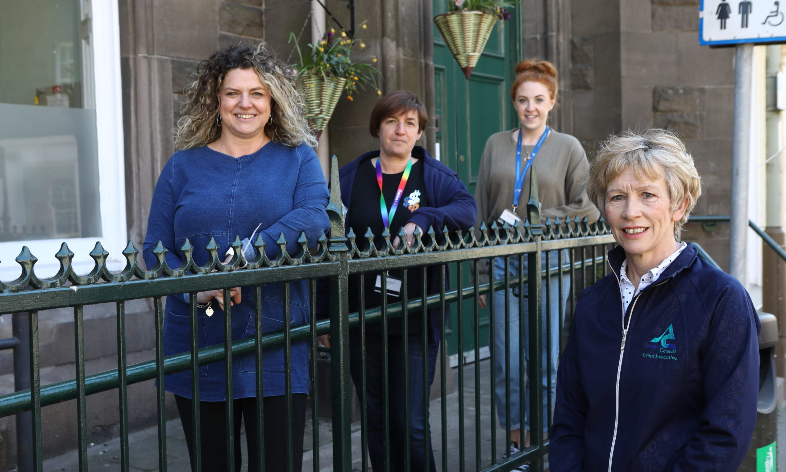 Angus Council Chief Executive Margo Williamson (front) with Alison Hendry, Catrina Gourlay and Becky Reid, at the HAART Hub in Forfar.