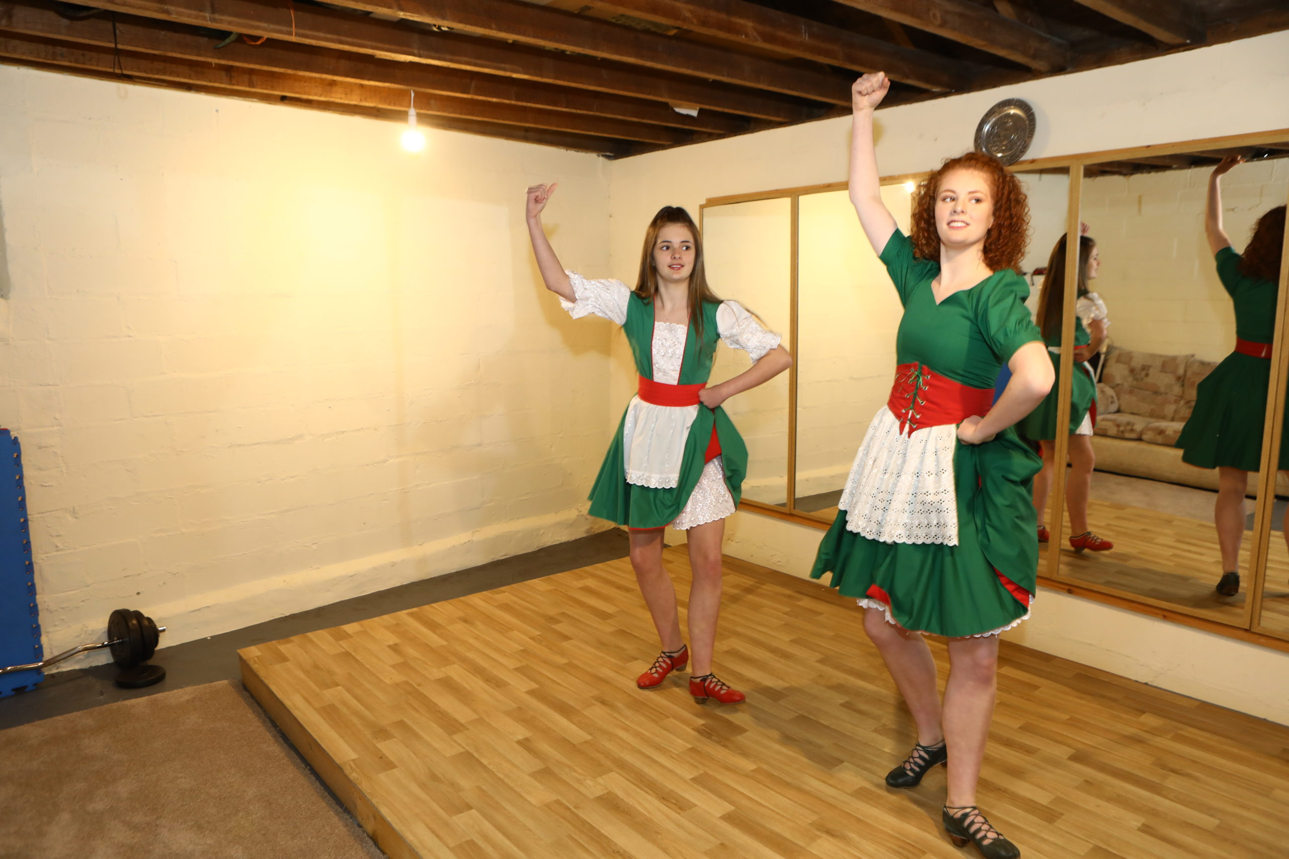 Forfar sisters Harriet, 13, and Olivia Waddell, 17, during their Zoom dance performance.