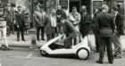 Mr Lamb in the Sinclair C5 before it limped to a halt during its test run.