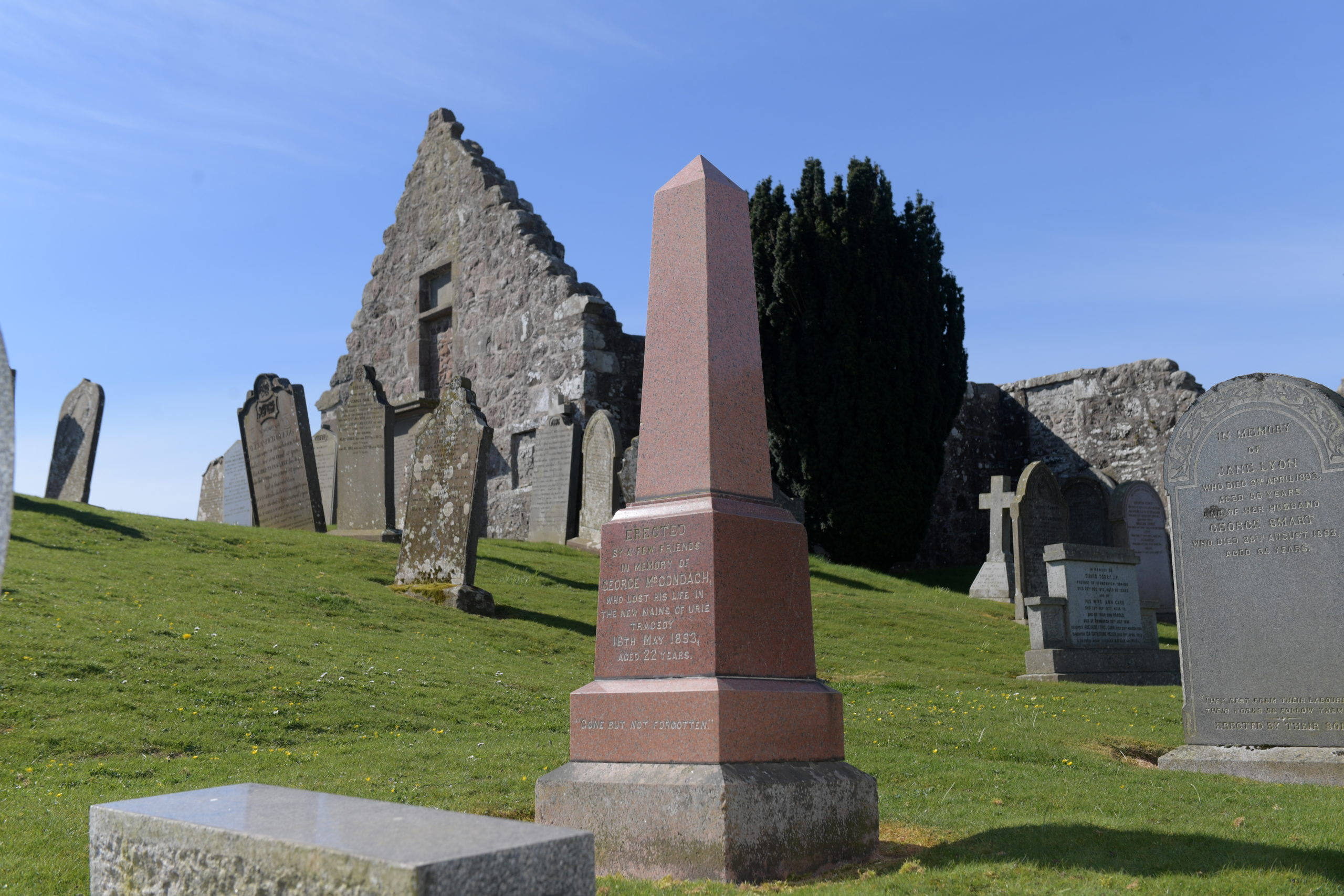 St Ciaran's Kirkyard in Kirkton of Fetteresso, Stonehaven. Here there is a memorial to the victim of a murder at cottages close by.
