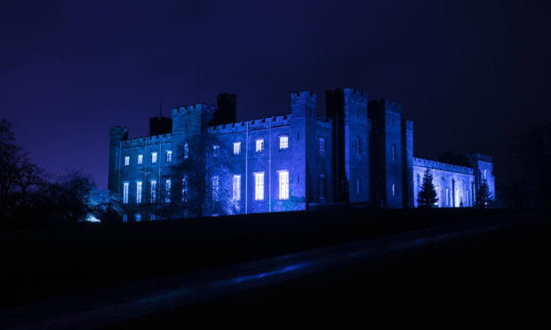 Scone Palace was lit up in blue light last night during the Clap For Carers moment.