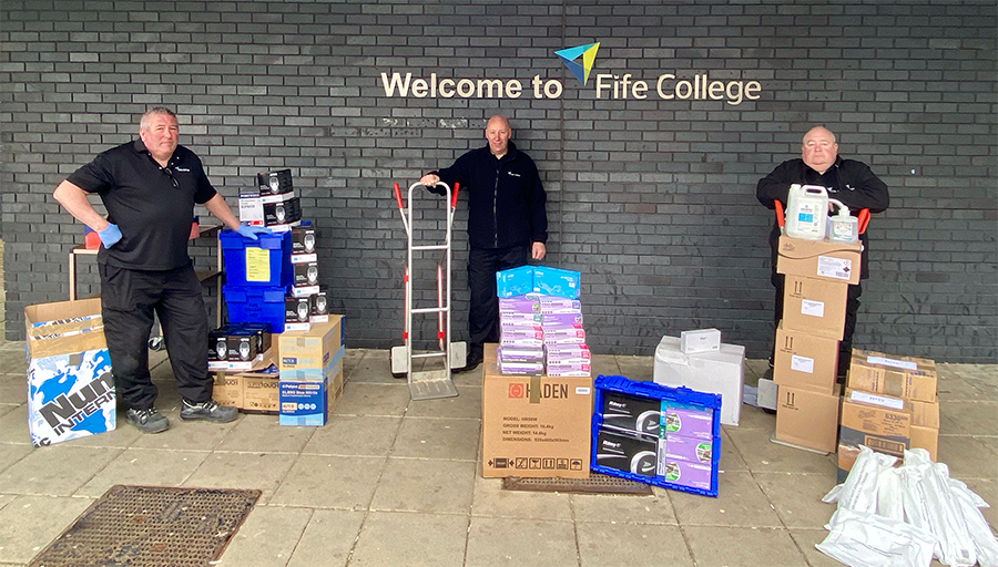 Fife College has donated PPE to NHS Fife and Fife Council. From left estates staff Drew Inglis, John Frew and Stuart Cain.