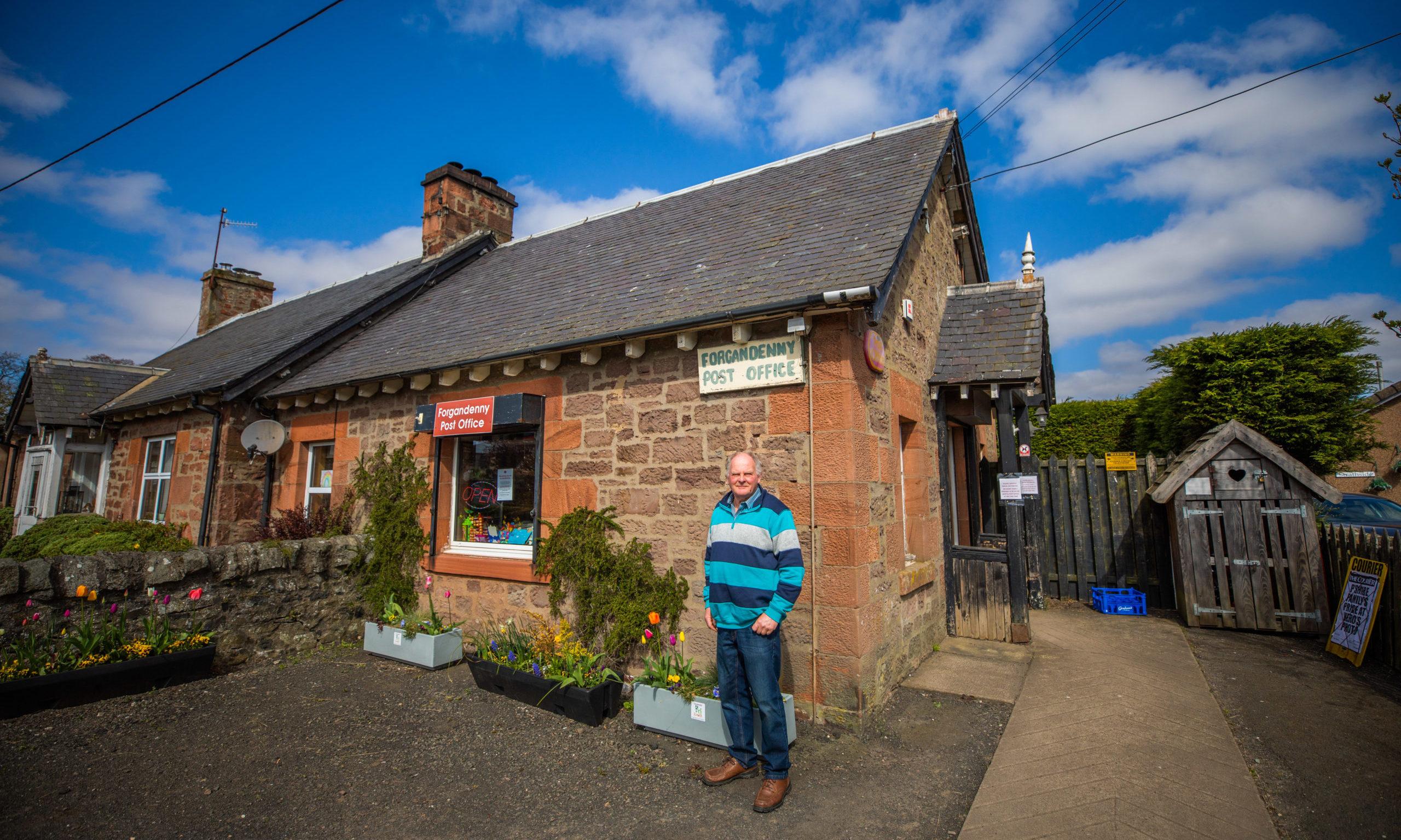 Jim Johnston outside Forgandenny Post Office