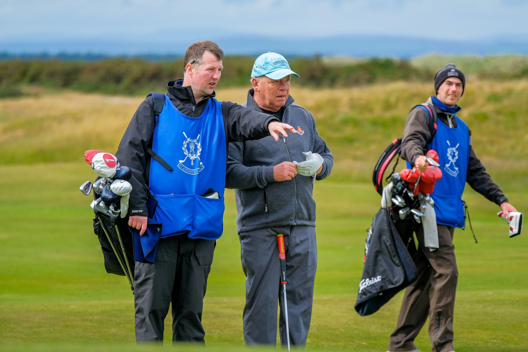 St Andrews Links caddie manager Fraser Riddler on the bag.