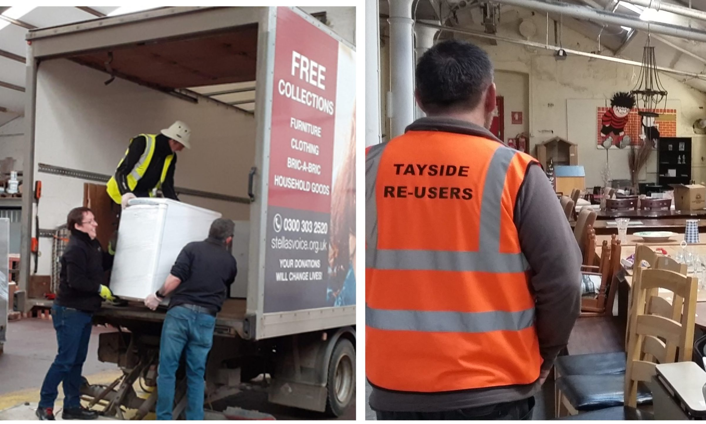 Workers load up a van destined for Peterhead