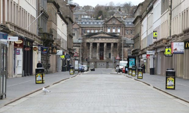 Empty streets in Dundee during the coronavirus lockdown.