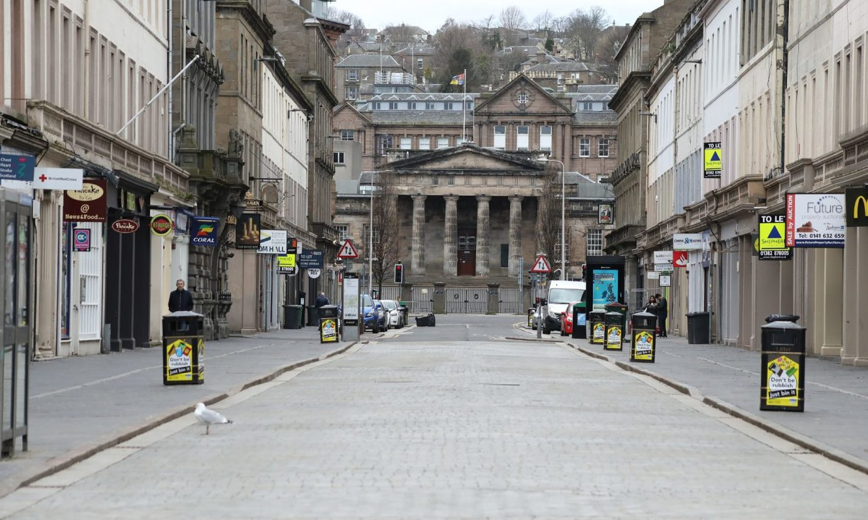 Empty streets in Dundee during the coronavirus lockdown.