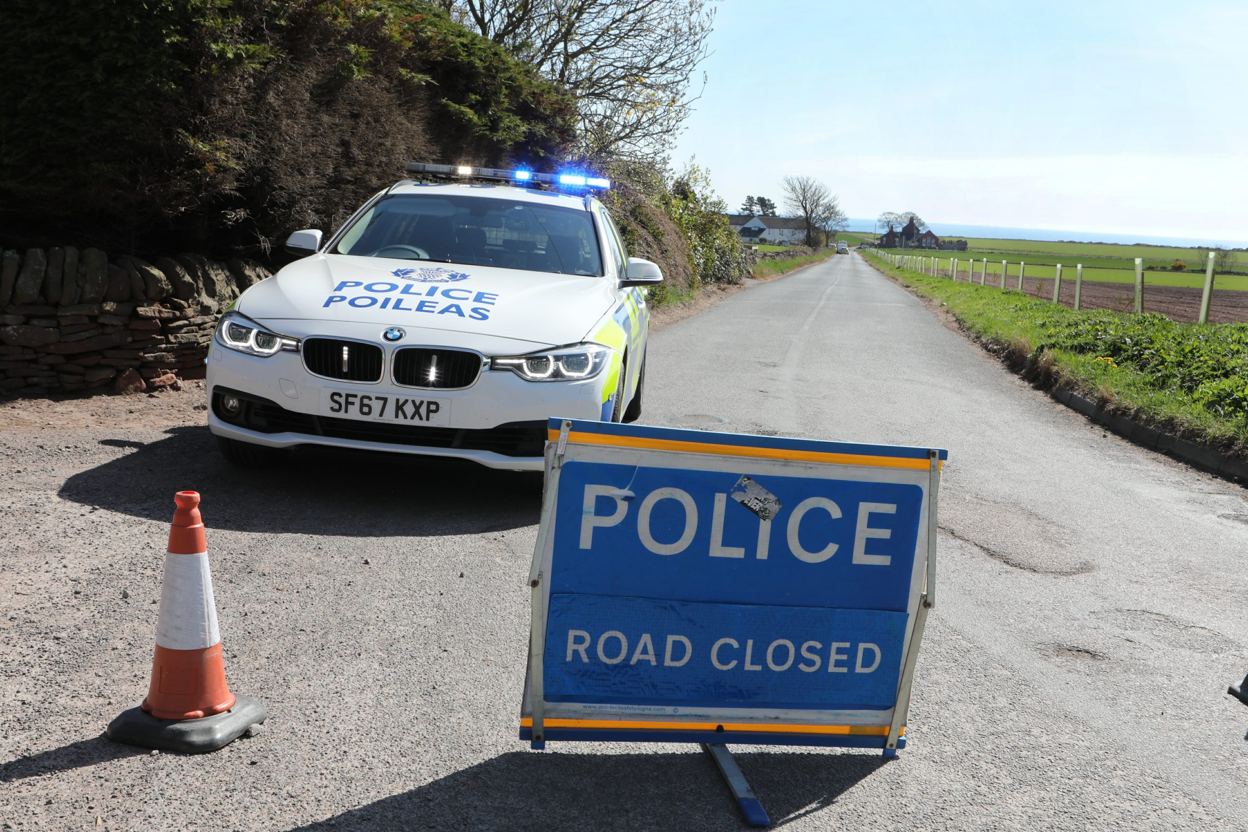 Police on the scene in Auchmithie.