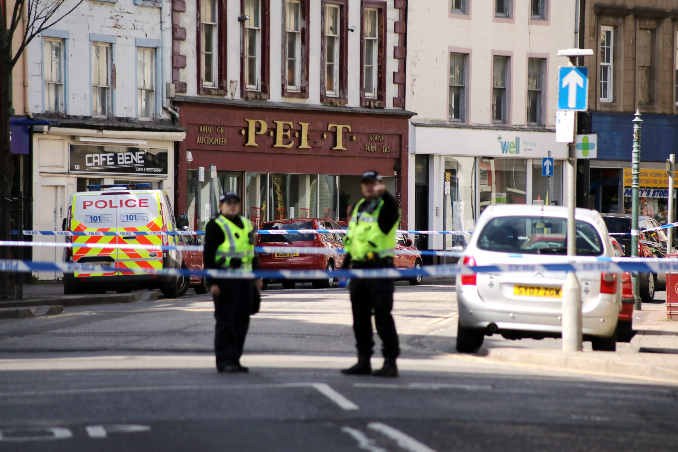 Police on Arbroath High Street on Tuesday.