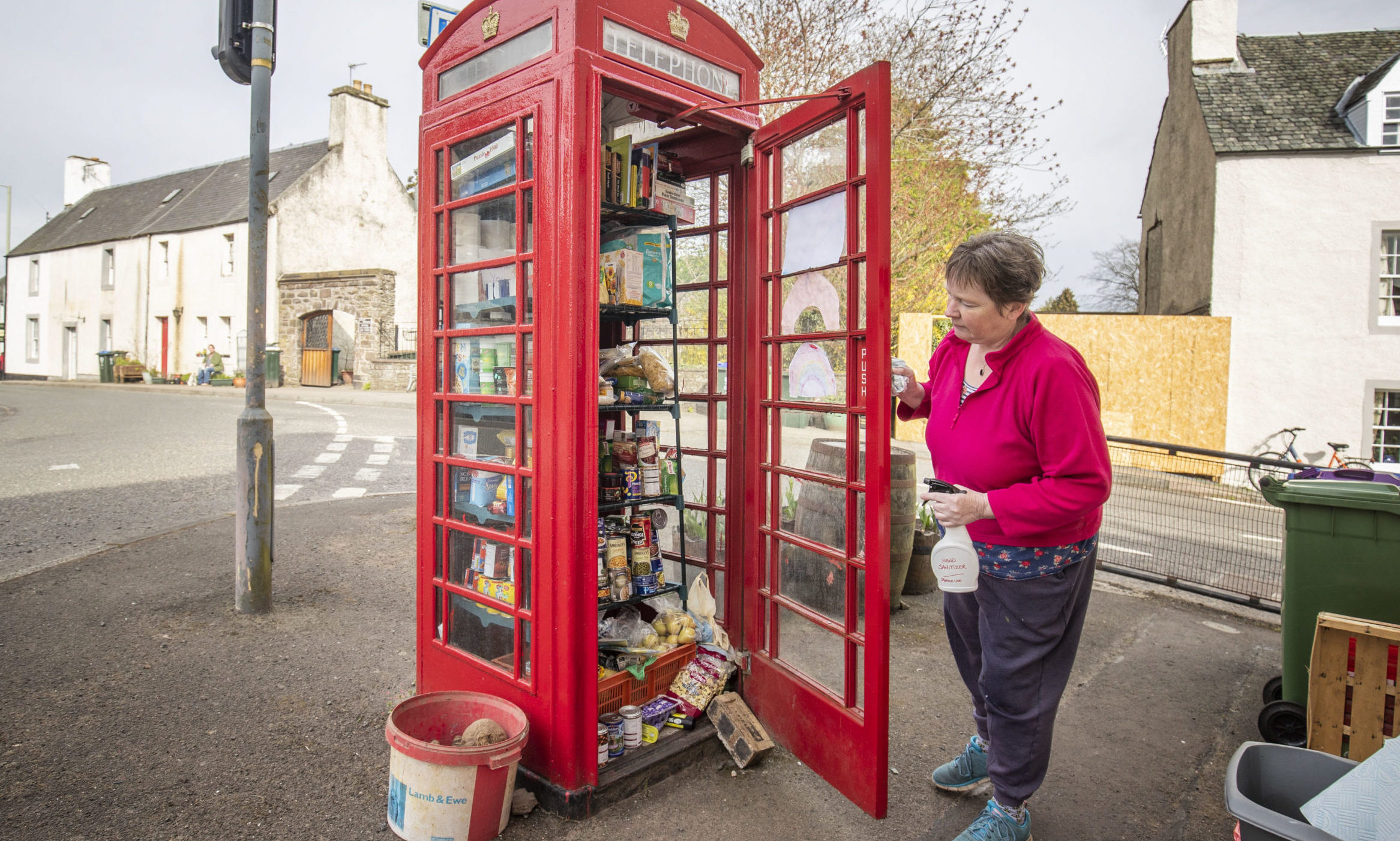 Susan Crawford checks the community food larder in Muthill.