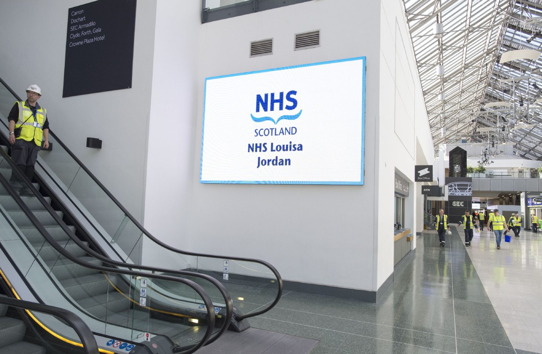 The interior of the NHS Louisa Jordan Hospital in Glasgow.