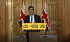 Screen grab of Chancellor Rishi Sunak during a media briefing in Downing Street, London, on coronavirus.