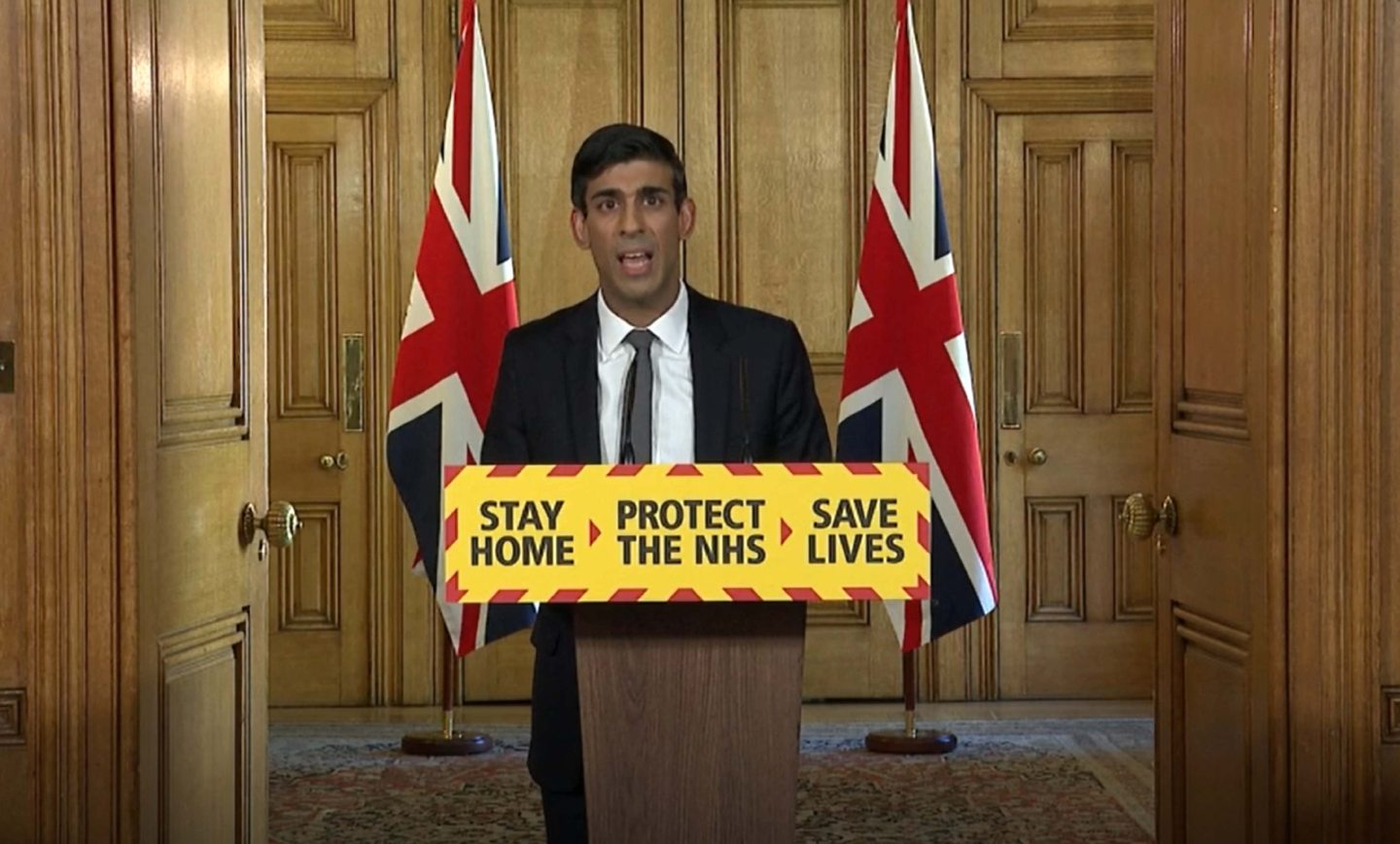 Screen grab of Chancellor Rishi Sunak during a media briefing in Downing Street, London, on coronavirus.