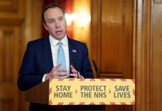 Health Secretary Matt Hancock speaking during a media briefing in Downing Street.