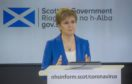 First Minister Nicola Sturgeon holds a Covid-19 press briefing in St Andrew's House, Edinburgh.