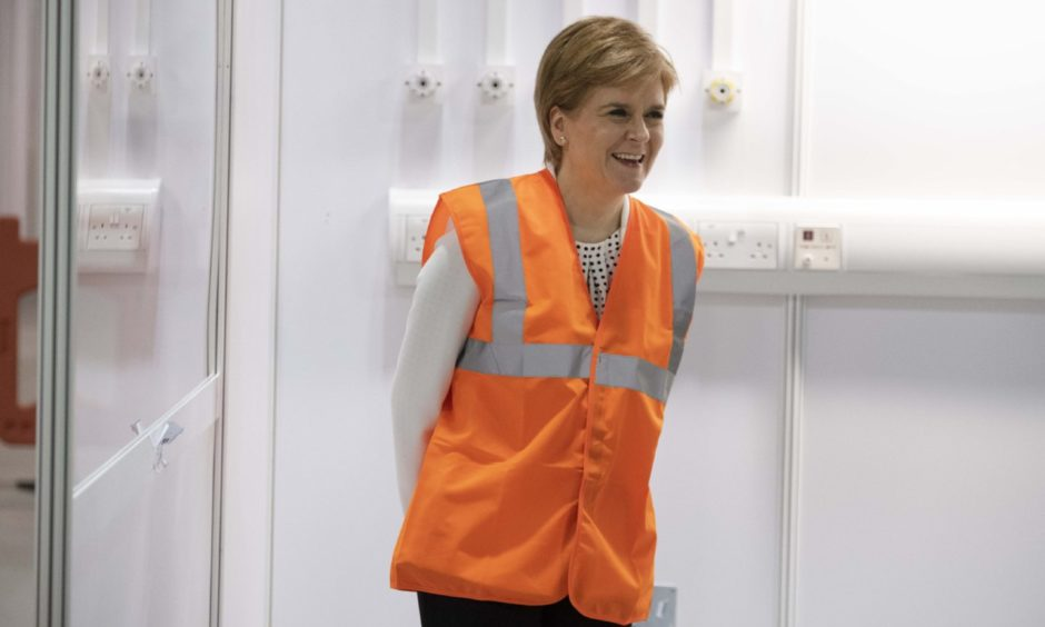First Minister Nicola Sturgeon at the Louisa Jordan Hospital.