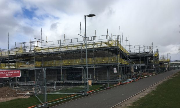 The under-construction centre on the site of the old Forfar Academy.