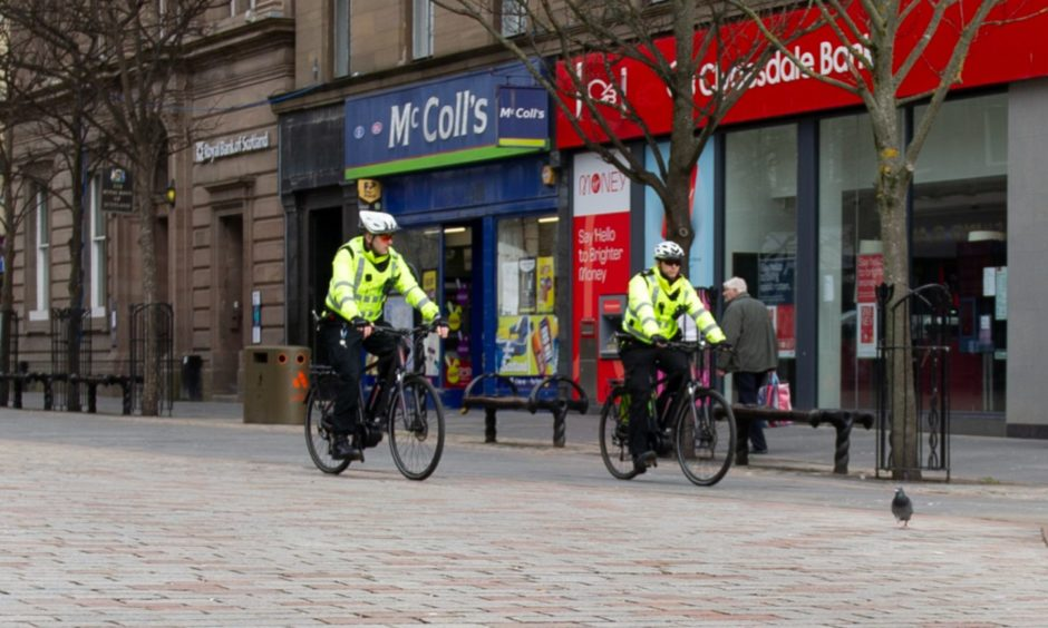 Police on patrol in Dundee city centre.