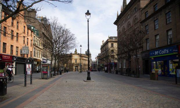 An empty street in Dundee following the coronavirus lockdown.