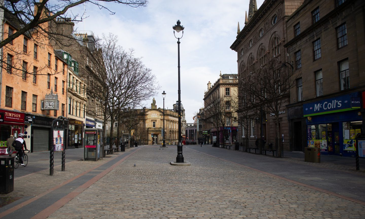 An empty street in Dundee following the coronavirus lockdown.