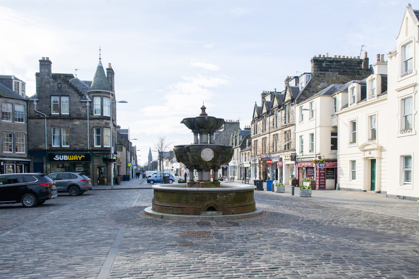 A virtually empty Market Street, St Andrews.