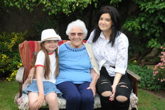 Ethel Lees with great-great grandchildren Nicole (left) and Kirsten Lees